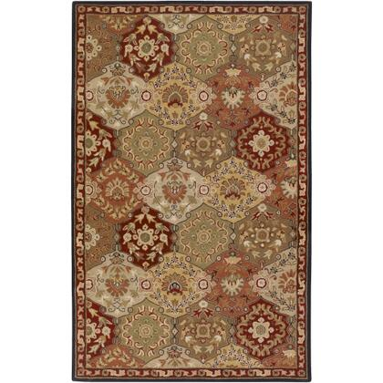 Caesar CAE-1034 4' x 6' Rectangle Traditional Rug in Camel  Garnet  Khaki  Dark Brown  Black