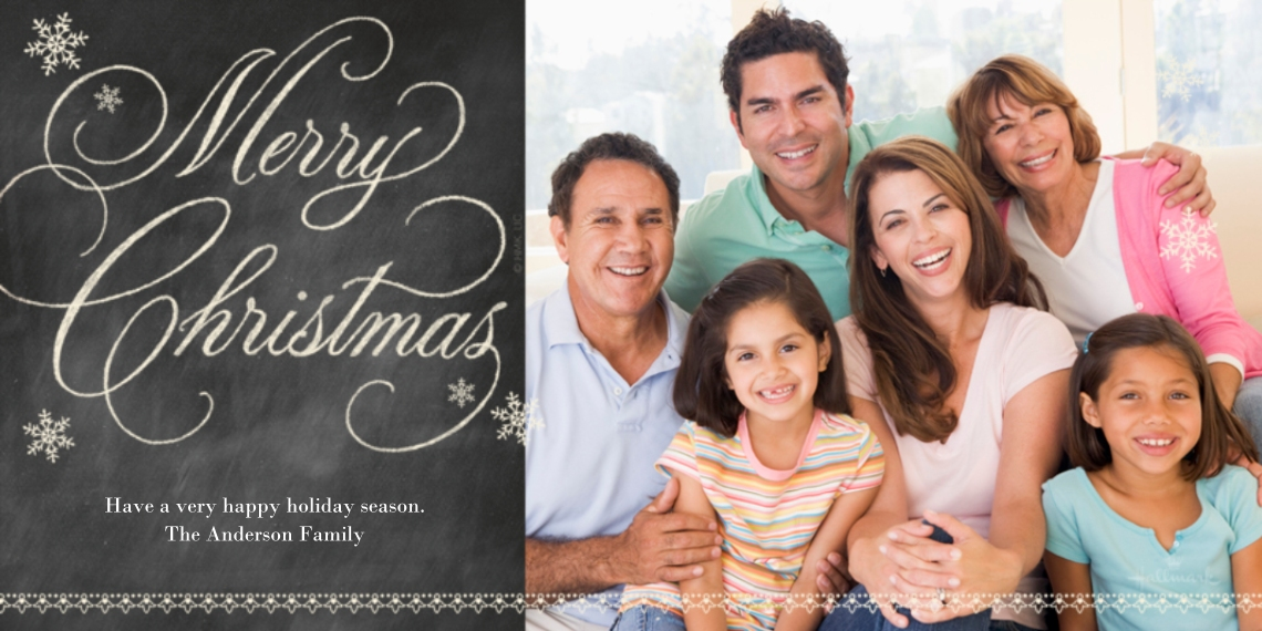 Christmas Photo Cards Flat Glossy Photo Paper Cards with Envelopes, 4x8, Card & Stationery -Chalkboard Merry Christmas