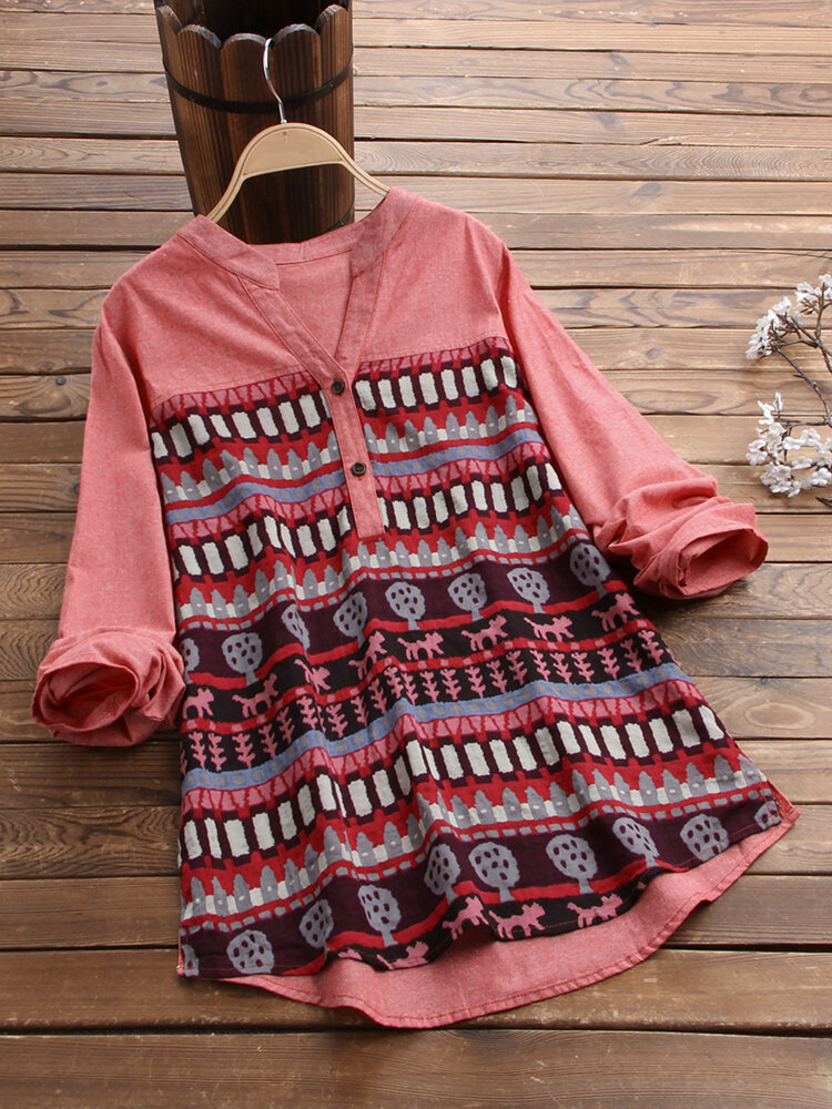 African Print Patchwork Long Sleeve Plus Size Shirt
