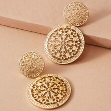1pair Metallic Hollow Out Floral Drop Earrings