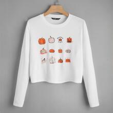 Camiseta tejida de canale con estampado de halloween
