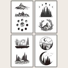4sheets Mountain & Tree Pattern Tattoo Sticker