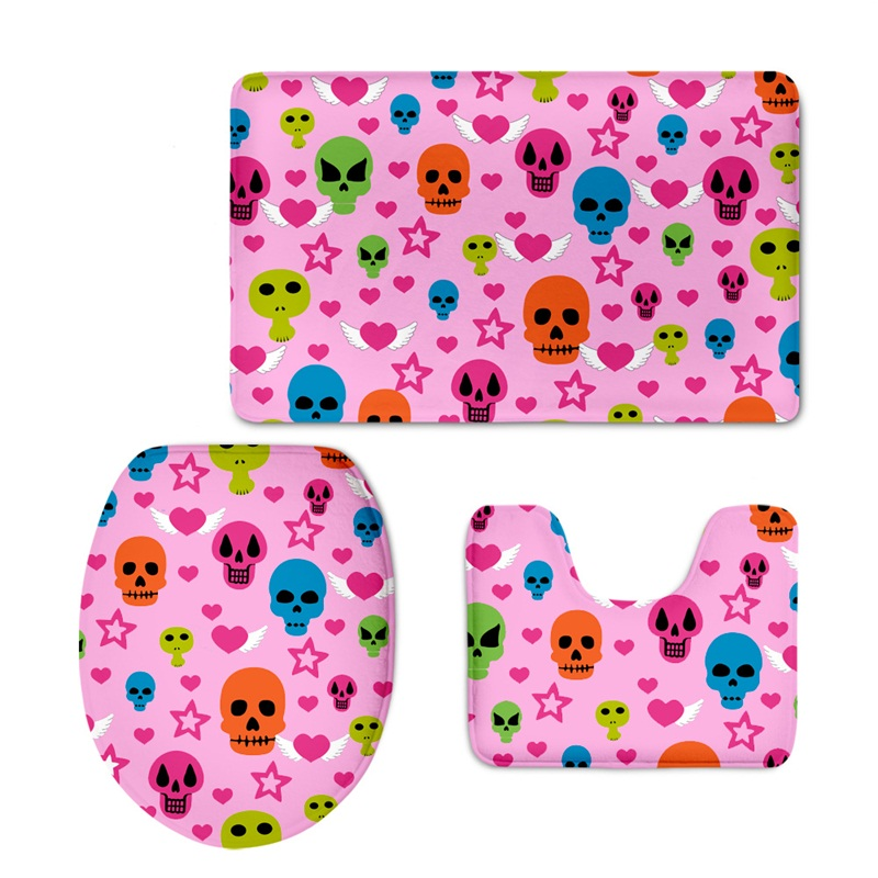 Pink Background Skulls Pattern 3-Piece Flannel PVC Soft Water-Absorption Anti-slid Toilet Seat Covers