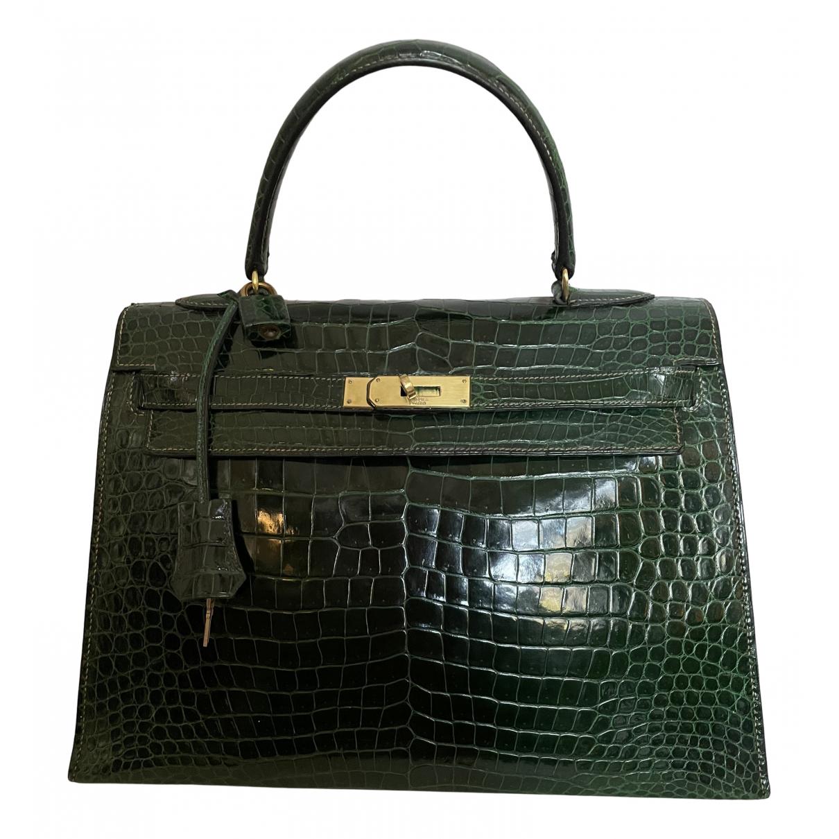 Hermes - Sac a main Kelly 32 pour femme en crocodile - vert