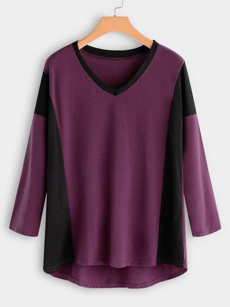 Yoins Purple Color Block V-neck Long Sleeves T-shirt
