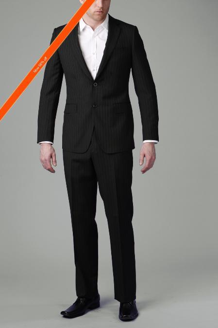 2Button Black Multi Stripe Slim Cut Suit