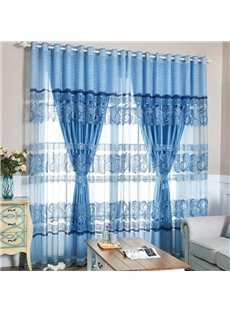 European Style Blue Embroidery Sheer and Solid Lining Room Curtain Sets