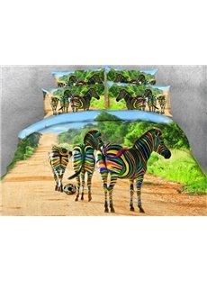 Colorful Zebra Printed Cotton 4-Piece 3D Bedding Sets/Duvet Covers