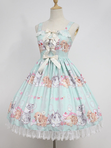 Milanoo Sweet Lolita Dress Neverland Do Not Eat Rabbits JSK Soft Pink Printed Lolita Jumper Skirt Original Design