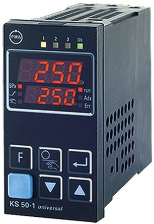 P.M.A KS50 PID Temperature Controller, 96 x 48 (1/8 DIN)mm, 2 Output Relay, 90  250 V ac Supply Voltage ON/OFF