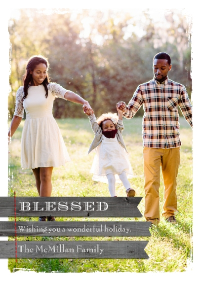 Christmas Photo Cards Flat Glossy Photo Paper Cards with Envelopes, 5x7, Card & Stationery -Rustic Blessed