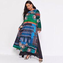 Tunika Kleid mit Stamm Muster, Kontrast und Netzstoff
