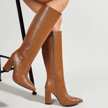 Point Toe Crocodile Knee Boots