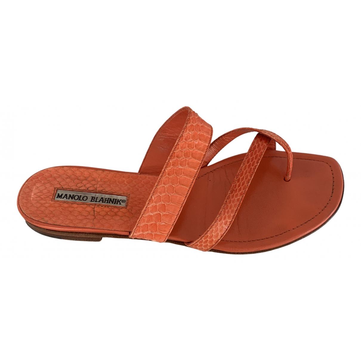 Manolo Blahnik Susa Orange Water snake Sandals for Women 39 EU