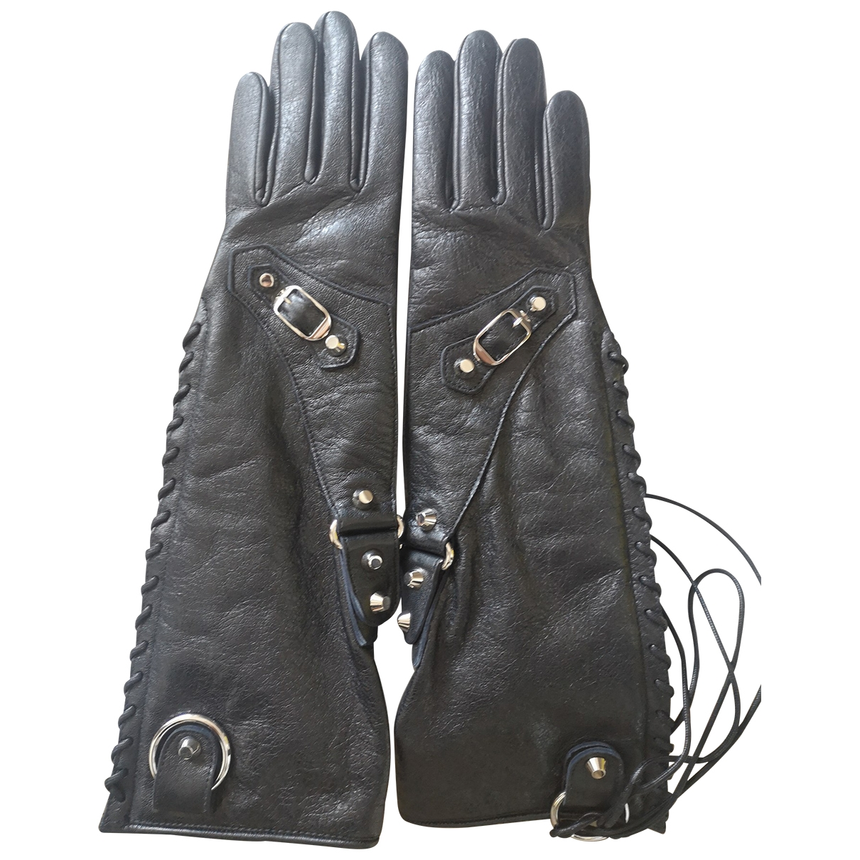 Balenciaga \N Handschuhe in  Schwarz Leder