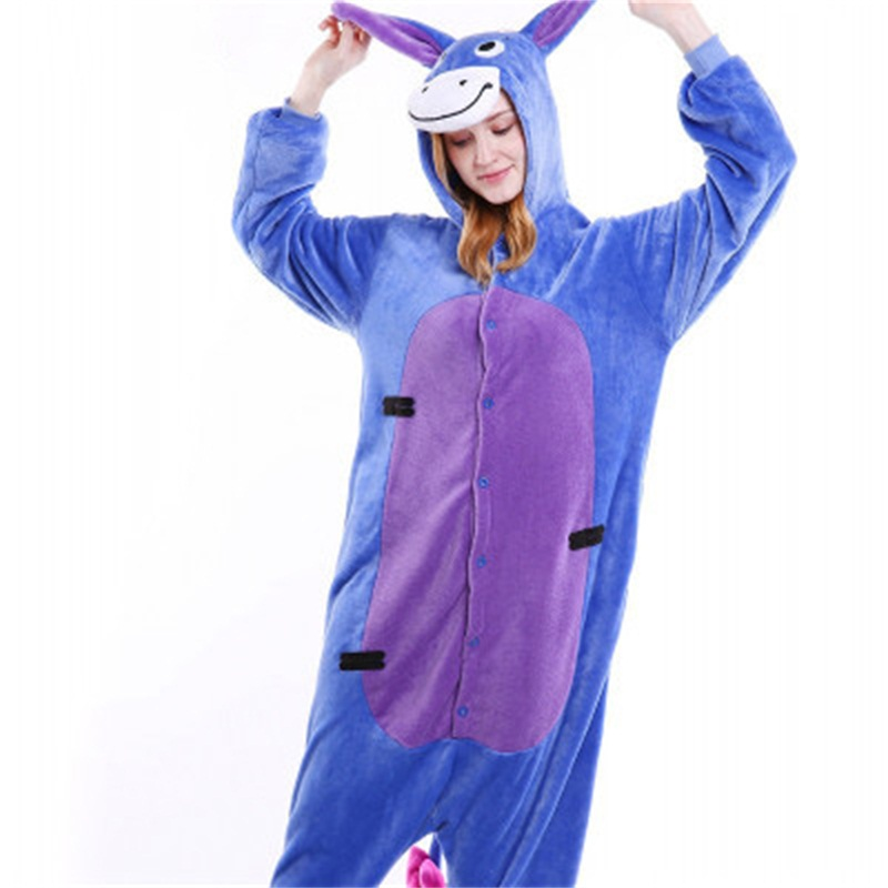 Halloween Lovely Eeyore Flannel One-Piece Stretchable Pajama Jumpsuit
