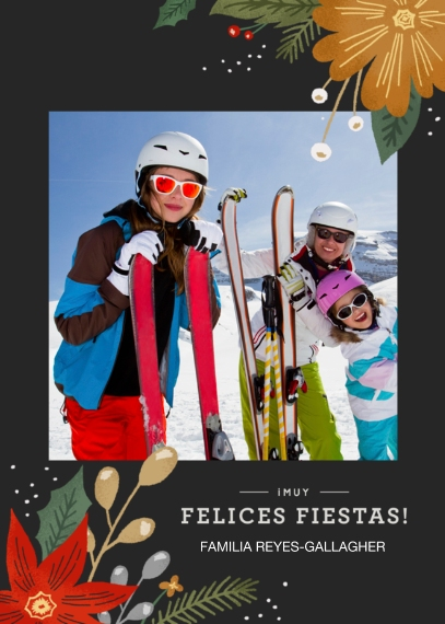 Christmas Photo Cards Mail-for-Me Premium 5x7 Folded Card , Card & Stationery -Felices Fiestas Floral