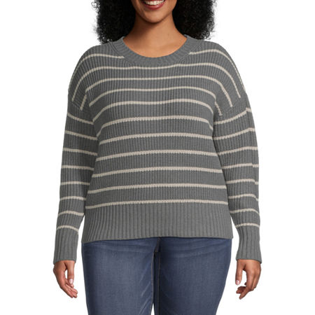 a.n.a-Plus Womens Crew Neck Long Sleeve Striped Pullover Sweater, 1x , Gray