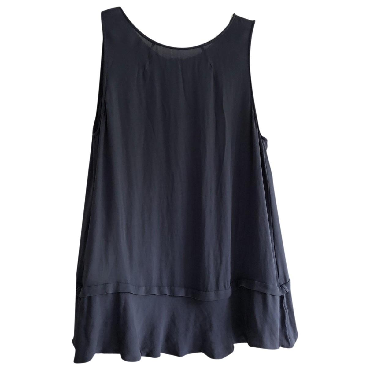Emporio Armani - Top   pour femme en soie - bleu