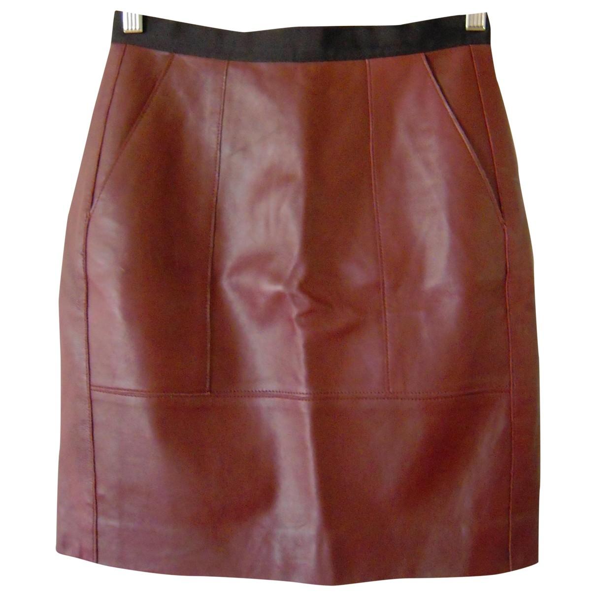 Sandro \N Burgundy Leather skirt for Women 1 0-5
