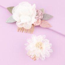 2pcs Toddler Girls Flower Decor Hair Pin