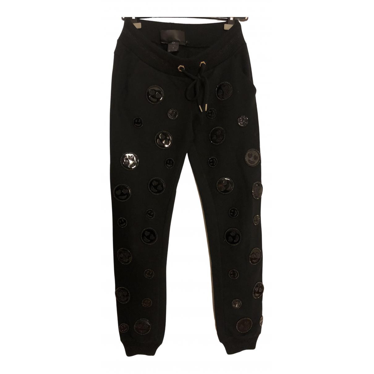 Pantalon en Algodon Negro Philipp Plein