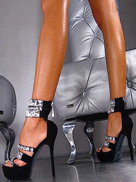 Milanoo Zapatos sexy negros Plataforma para mujeres Piedras del pie punta abierta Cremallera Sandalias con correa en el tobillo Sandalias de tacon alt