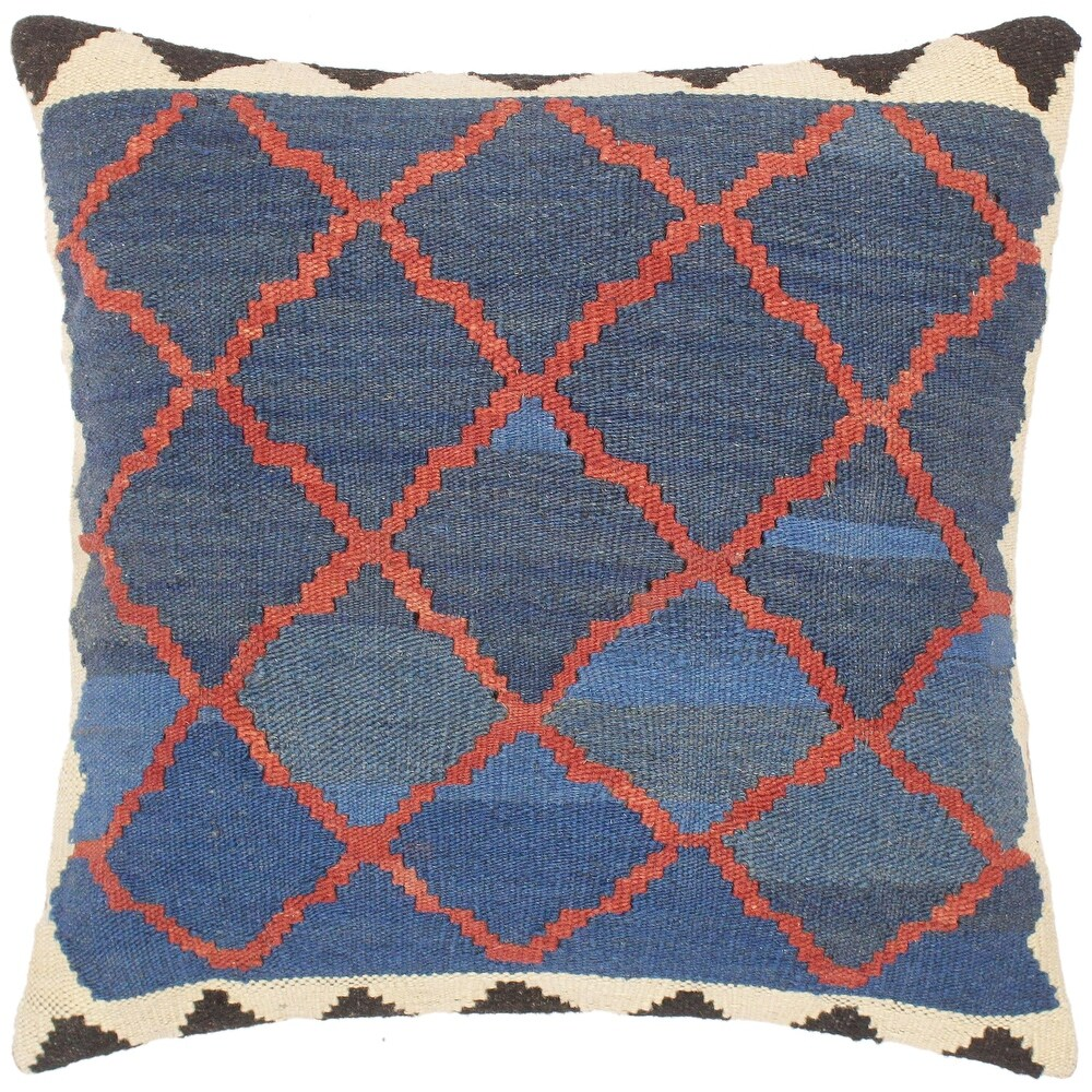 Bauhaus Adria Hand-Woven Turkish Kilim  Pillow 18 in. x 18 in. (Accent - 18 in. x 18 in. - Polyester - Blue - Single)
