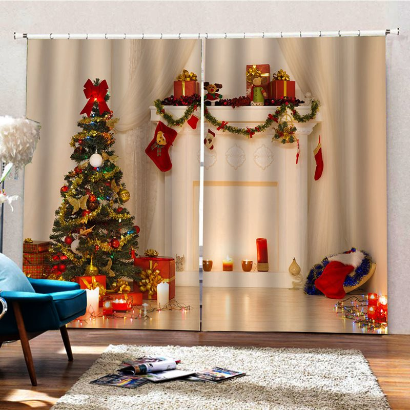 Christmas Theme Thick Fabric Blackout and Festival Decorative 3D Curtains Backdrop