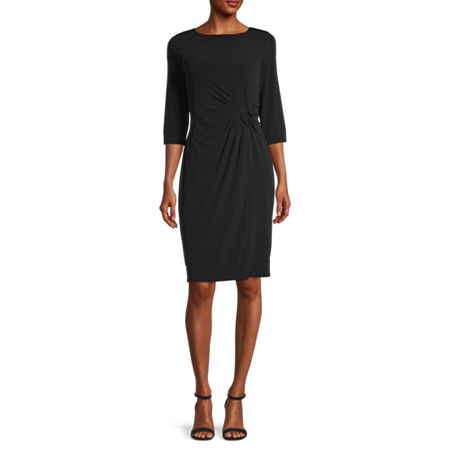 Liz Claiborne 3/4 Sleeve Plaid Sheath Dress, Small , Black