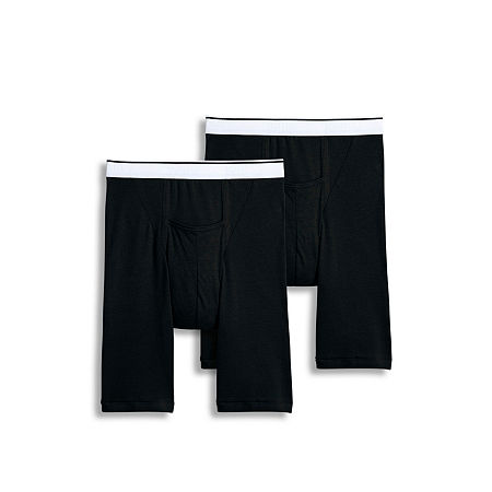 Jockey 2 Pair Pouch Midway Brief - Men's, Large , Black