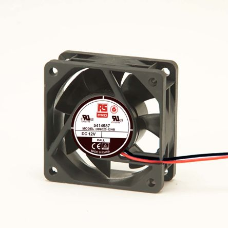 RS PRO , 12 V dc, DC Axial Fan, 60 x 60 x 25mm, 40.8m³/h, 2.8W