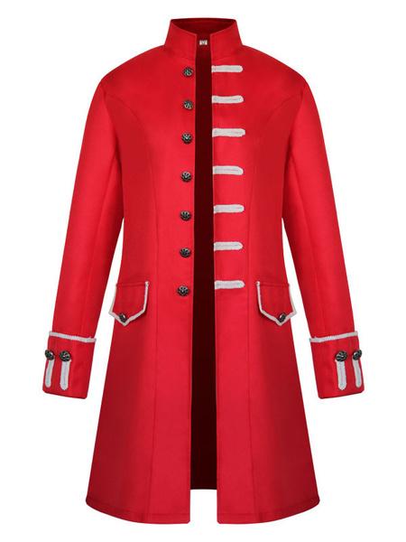 Milanoo Disfraz Halloween Disfraz de uniforme vintage con cuello alto y botones para hombre Carnaval Halloween
