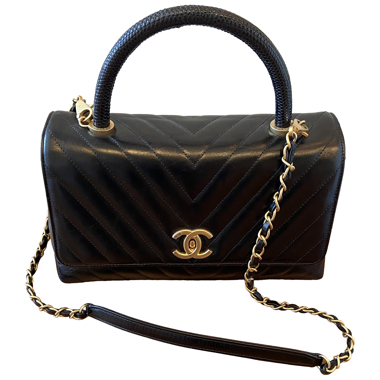 Chanel Coco Handle Handtasche in  Schwarz Leder