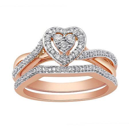 Surrounded by Love Womens 1/5 CT. T.W. Genuine White Diamond 14K Rose Gold Over Silver Bridal Set, 7 , No Color Family