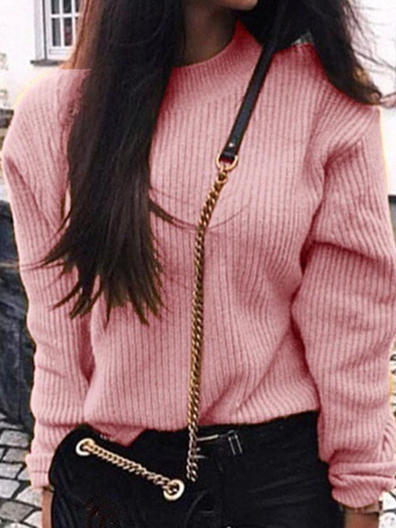 Ericdress Regular Thin Round Neck Long Sleeve Sweater