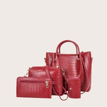 4pcs Croc Embossed Satchel Bag Set
