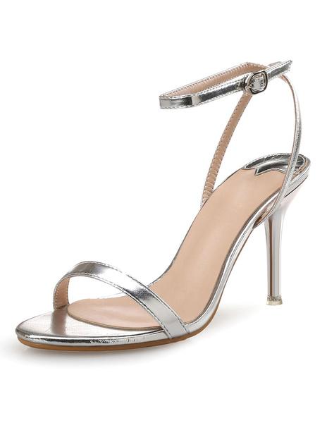 Milanoo High Heel Sandals Womens PU Leather Open Toe Slingback Stiletto Heels Sandals