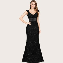 Ribbon Waist Sweetheart Neck Mermaid Glitter Prom Dress