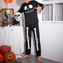 Boys Halloween Print Tee and Pants PJ Set