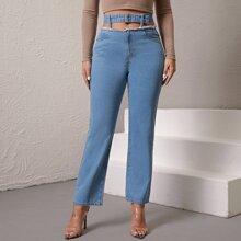 Jeans mit umgesaeumtem Saum, Schnalle und Guertel