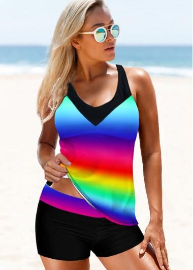 Rainbow Color Strappy Back Tie Dye Print Tankini Set - S