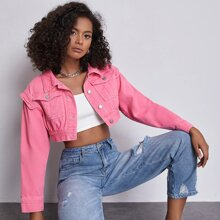 Button Front Flap Pocket Crop Denim Jacket