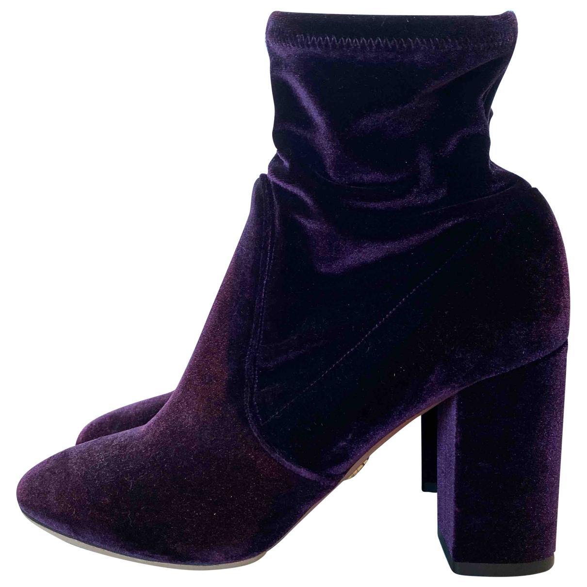 Aquazzura - Boots   pour femme en velours - violet