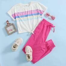 Girls Letter and Striped Print Tie Hem Top & Pants Set