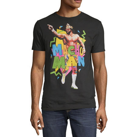 Macho Man Mens Crew Neck Short Sleeve WWE Graphic T-Shirt, Medium , Black