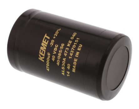 KEMET 47000μF Electrolytic Capacitor 40V dc, Screw Mount - ALS30A473KE040