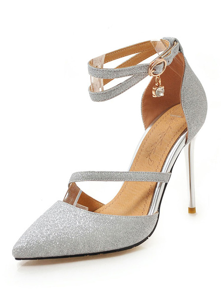 Milanoo Silver High Heels Glitter Pointed Toe Ankle Strap Prom Shoes Women Evening Shoes