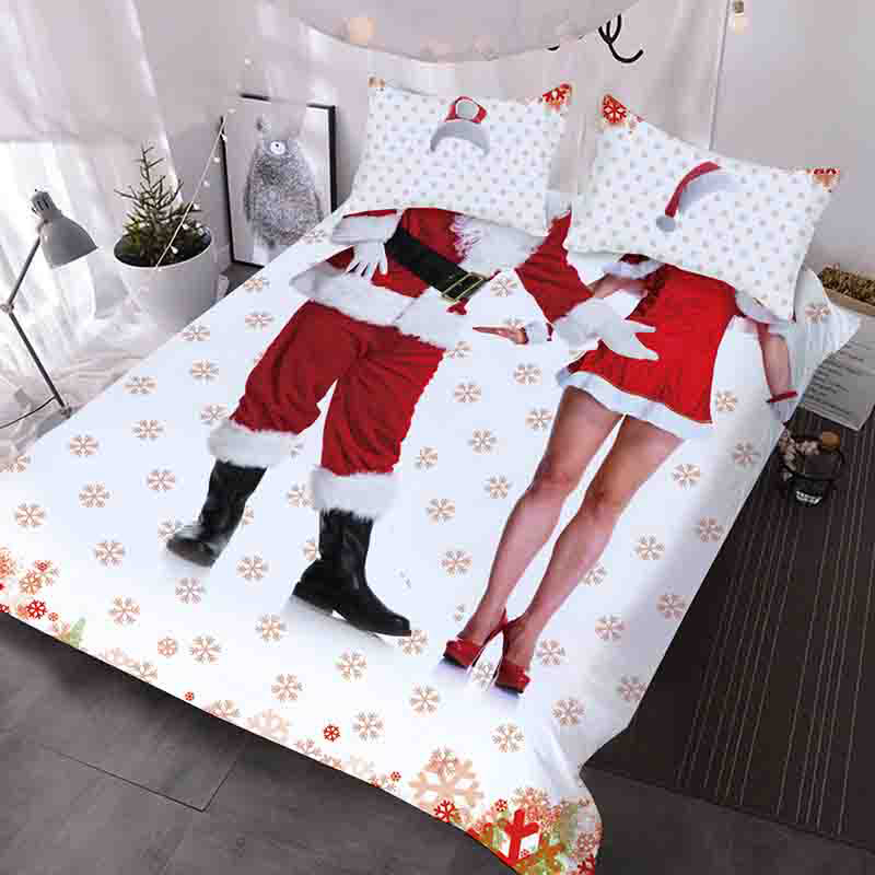 Santa And Santa Girl Interesting Costume Style 3D Printed 3-Piece Polyester Comforter Sets