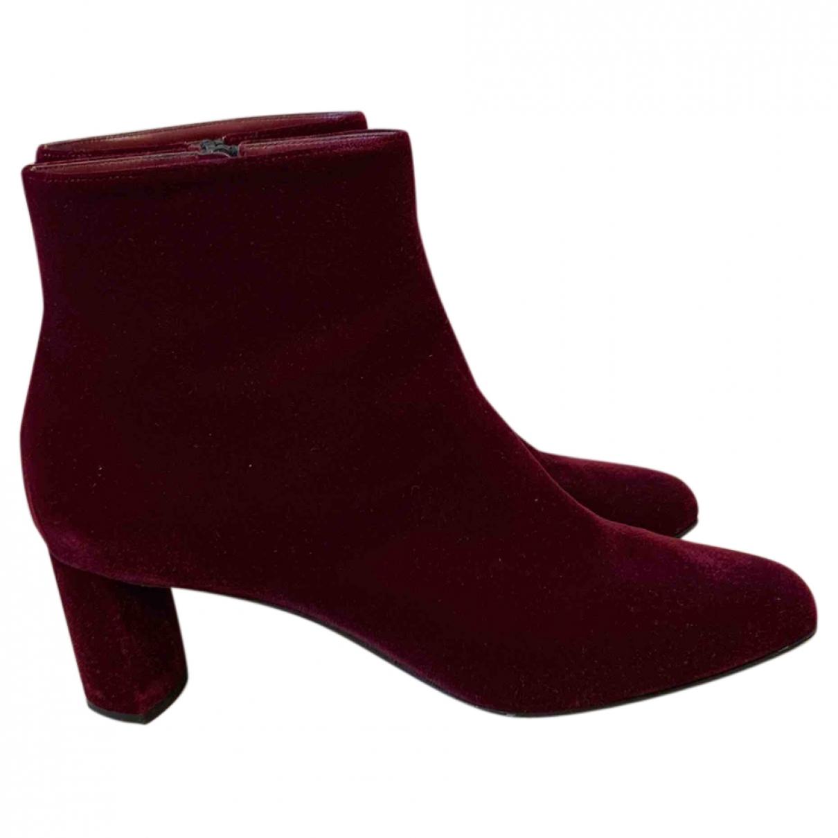 Casadei - Boots   pour femme en velours - bordeaux